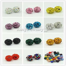 50pcs 10mm CZ Crystal Pave Clay Disco Ball Spacer Beads Fit Shamballa Bracelets
