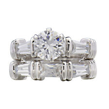 Sterling Silver Round Cubic Zirconia Baguette Cz Accent Engagement Wedding Set
