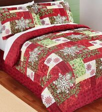 Holiday Patchwork Bedding Set Comforter Shams Bed Skirt King Queen Full Twin
