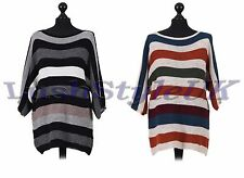 New Ladies Italian Stripy Batwing Knitted Top Women Lagenlook Top Plus Sizes