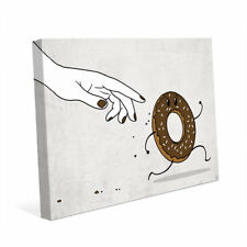Click Wall Art The Chase for Chocolate Donut Painting Print on Wrapped Canvas