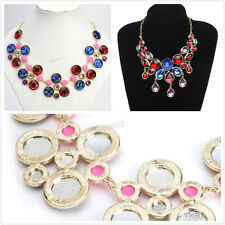 5pcs New Lots Gold Plated Colorful Resin Rhinestone Necklace Fit Jewelry Gifts L