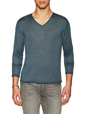John Varvatos star usa luxe Mens blue stripe long sleeve v-neck Sweater size M