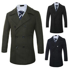Mens Fashion Casual Trench Coat Jacket Double Breasted Coats Outerwear Jackets
