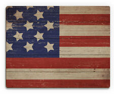Click Wall Art 'American Flag on Wood Horizontal' Graphic Art on Plaque