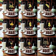 20pcs Gold Cupcake Toppers Wedding Picks Party Picks Food Pick Cake Decoration