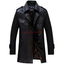 Winter New Men's Black Lapel Long Faux Leather Trench Coat Jacket outwear black