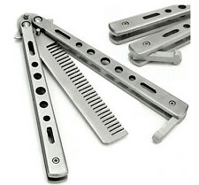 Stainless Steel Practice Training Butterfly Balisong Style Knife Comb  WB