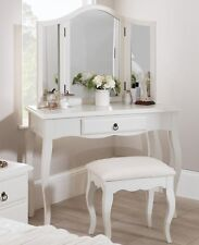 White Dressing Table Make Up Desk Home Bedroom Mirror Furniture Stool Drawer Set