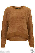 topshop womens ladies stretchy camel jumper fluffy knit sweater top uk size 4-16
