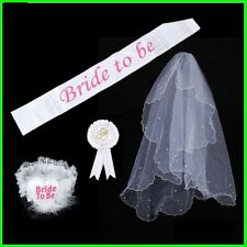Bride To Be White Veil Badge Sash Lace Garter Set Hen Night Party Bachelorette