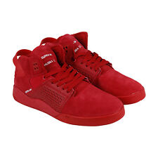 Supra Skytop III Mens Red Leather Lace Up Sneakers Shoes