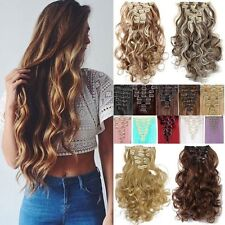 8 Pieces Real Thick Pre Blonde Brown Clip In Hair Extensions 18Clips On Hair Few