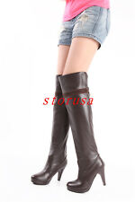 Women Lady High Heel Knee High Boots Shoes Platform Dancing Boots Shoes Size