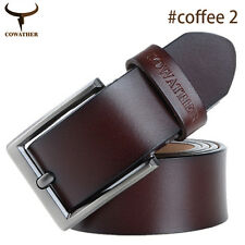 Mens Belt Genuine Real Leather Smooth Pin Buckle Waistband Waist Band Strap Belt
