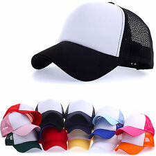 New Unisex Mens Womens Plain Solid Blank Trucker Mesh Baseball Cap Hats Snapback