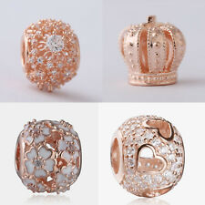 New authentic 925 Sterling Silver with Rose Gold Plated Pave CZ Ball Charm beads