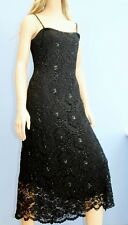 Phase Eight Black Lace Bead Sequin Fitted Cocktail Dress Size 12