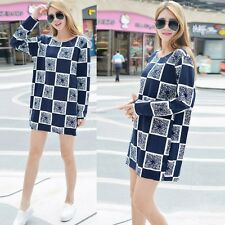 Women Long Sleeve Shift Dress Code Print Cotton O-neck Casual Loose Plaid Dress