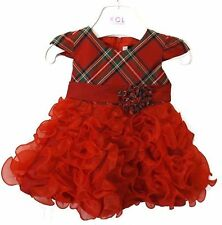 Beautiful Baby Girls Tartan &  Ruffles Occasion Party Romany Style Dress by KCL