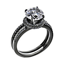Black Sterling Silver Clear Round Cubic Zirconia Women's Wedding Ring Sets
