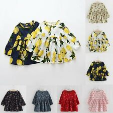 Toddler Kids Baby Girls Flower Dress Long Sleeve Princess Party Pageant Dresses