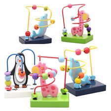 Colorful Kids Baby Educational Wooden Around Beads Maze Intelligence Toys EW
