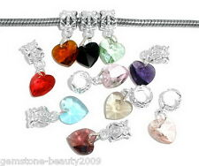 Wholesale HOT! Mixed Imitation Heart Crystal Glass Faceted Dangle Beads 24x10mm