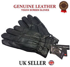 WOMENS TOUCH SCREEN REAL LEATHER GLOVES THERMAL LINED BLACK DRIVING WINTER GIFT