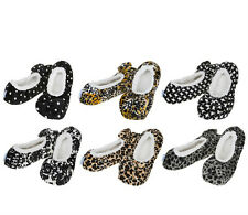 SNOOZIES Ladies Leopard Print Slippers. Girlie Cozy, Warm, Non-Slip and Washable