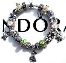 Authentic PANDORA 925 Sterling Silver Bracelet COTTONTAIL CUTIES Murano AA21