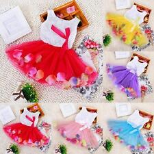 Lovely Baby Kids Girls Princess Pageant Tutu Dress Lace Bow Flower Tulle Skirts
