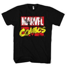 Official Mens Black Marvel Comics Distressed Logo T-Shirt - Heros Tee Classic