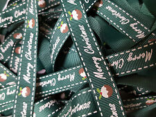 Christmas Grosgrain Ribbon Berties Bows Merry Christmas Pudding Green 16mm 128