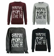Womens Ladies Normal People Scare Me Sweatshirt  Jumper Christmas Gift Top