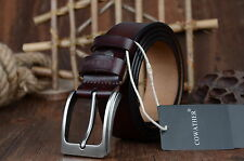 Luxury100% Genuine Cow Leather Mens Belt Alloy Pin Buckle Dress Casual Waistband