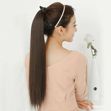 New Fashion Party Women's Long Ponytail Wig Straight Style Hair Natural Wigs