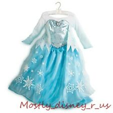 Disney Store Frozen Princess Elsa Costume Gown Dress Snow Queen Updated 3-9/10