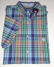 NEW MENS CHAPS BIG & TALL MULTI GREEN PLAID SHORT SLEEVE CASUAL SHIRT XLT 3XB
