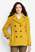 LANDS' END 14 Golden Amber Luxe Wool & Cashmere Pea Coat NWT $149