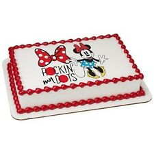 Minnie Mouse Rockin' My Dots Edible Cake OR Cupcake Toppers Decoration
