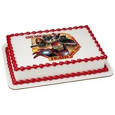 Avengers Iron Man Superhero Edible Cake OR Cupcake Toppers Decoration
