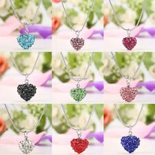 Charming Women Rhinestone Crystal Alloy Heart Necklace Jewelry Pendant Chain FT