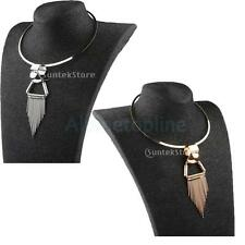 Womens Cool Punk Metal Alloy Choker Statement Tassel Pendant Geometric Necklace