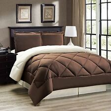Down Alternative, Brown and Cream Reversible Comforter Set, Twin Full/Queen King