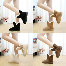 Women Girls Winter Warm Martin Snow Boots Flat Ankle Casual Faux Suede Fur Shoes