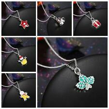 Fashion Christmas Bell Santa Tree Boot Wreath Cute Pendant Necklace Jewelry Gift