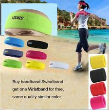 Cotton Women Men Sports Sweat Sweatband Headband Yoga Gym Elastic Head Band