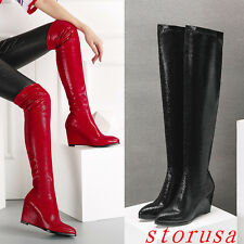 Fashion Women Snake Leather Over Knee High Boots High Wedge Heel Sequin Shoes