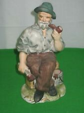 Collectible Porcelain Bisque Figurine Old Man Smoking Pipe & Painting HB Japan